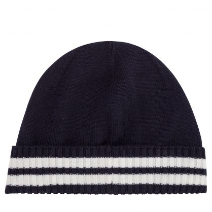 Dark Blue Wool-Blend Logo Beanie Hat
