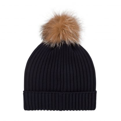 Dark Blue Pom Pom Beanie Hat