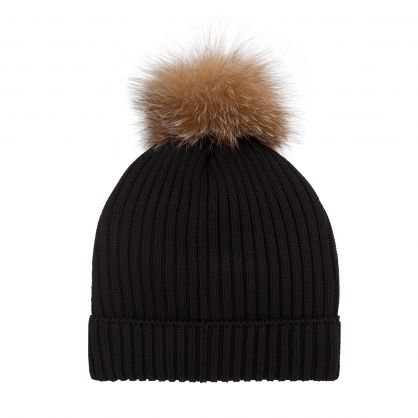 Black Pom Pom Beanie Hat