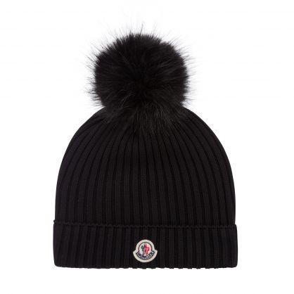 Black Wool Rib-knit Pom-Pom Beanie Hat