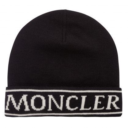 Black Wool Logo Beanie Hat