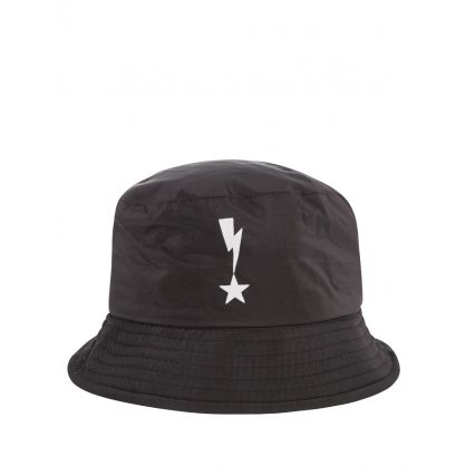 Kids Black Thunderbolt & Star Bucket Hat