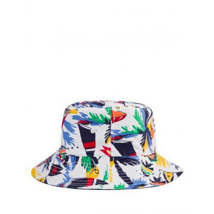 Kids White/Navy Reversible Bucket Hat