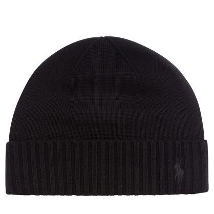Kids Black Plain Wool Beanie Hat