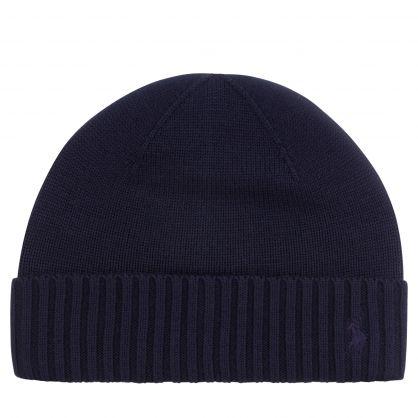 Kids Navy Merino Wool Beanie Hat
