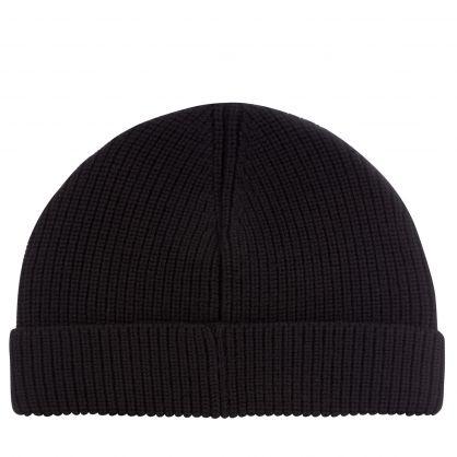 Black Embroidered Medusa Logo Beanie Hat