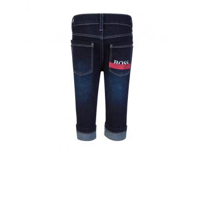 Navy Slim-Fit Essential Denim Jeans