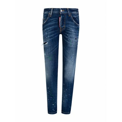Kids Blue Denim Distressed Skater Jeans