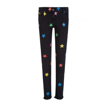 Black Denim Glitter Stars Jeans