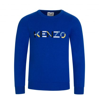 Blue Cashmere-Blend Logo Jumper