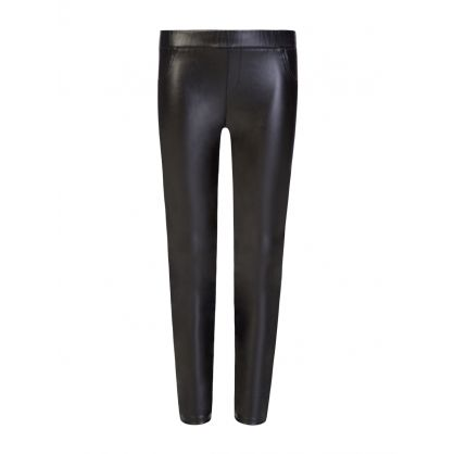 Kids Black Faux Leather Jeggings