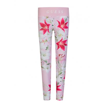 Kids Pink Floral Leggings