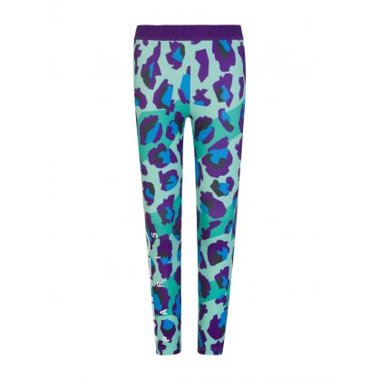 Green Leopard Print Sports Leggings