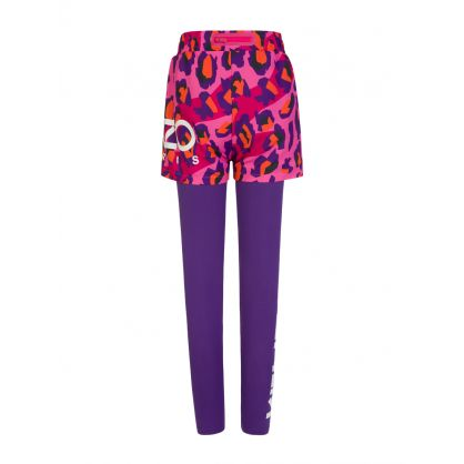 Pink/Purple Two-Piece Leopard Print Legging/Shorts Layering Set