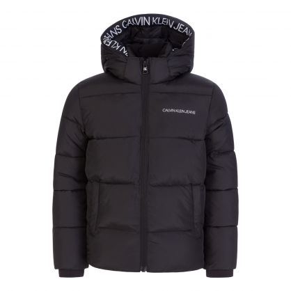 Kids Black Tape Puffer Jacket