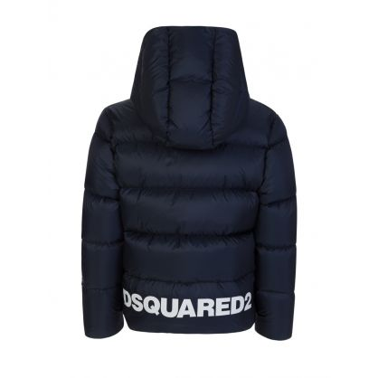 Kids Navy 'I Love DSQ2' Puffer Jacket