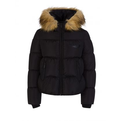 Kids Black Faux Fur Hooded Jacket