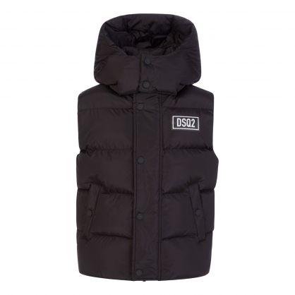 Kids Black Puffer Vest Gilet