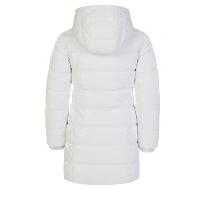 Kids White Shiny Hooded Puffer Jacket