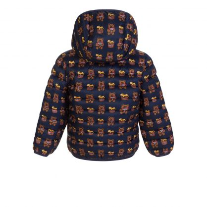 Kids Navy All-Over Grizzly Bear Print Puffer Jacket