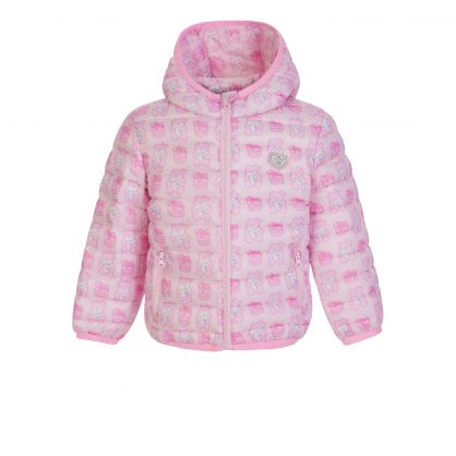 Kids Pink All-Over Print Puffer Jacket