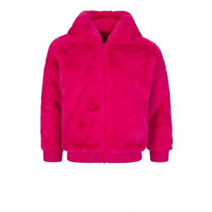 Pink Faux Fur Tiger Hooded Jacket