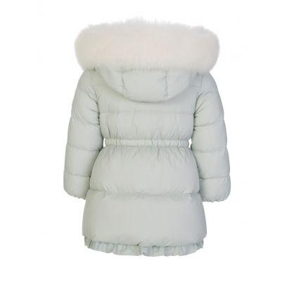 Green Kithera Fur Hooded Longline Puffer Coat