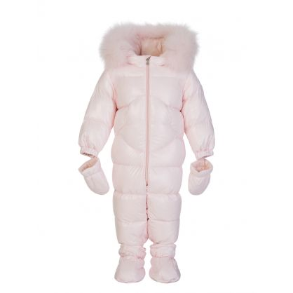 Pink Down Padded Baby Snowsuit