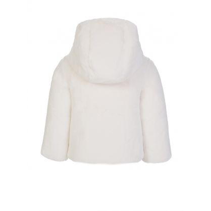 White Fluffy Feather Down Jacket