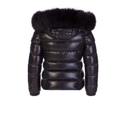 Black Bady Fur Hood Puffer Jacket