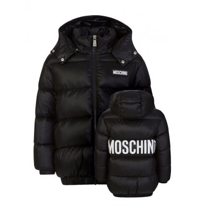 Kids Black Down Padded Logo Jacket