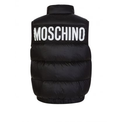 Kids Black Down Padded Logo Gilet