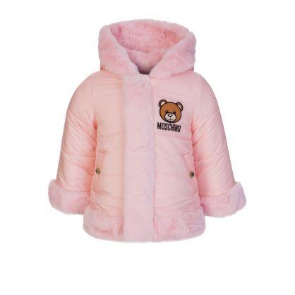 Kids Pink Faux-Fur Reversible Coat