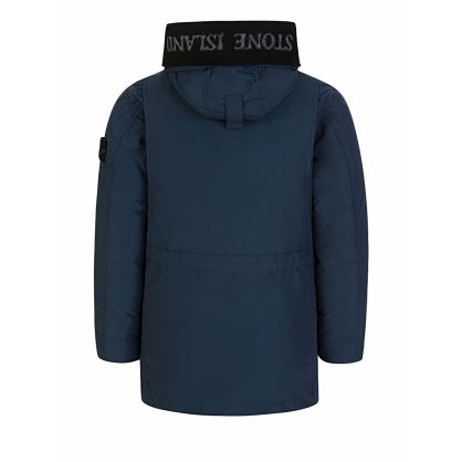 Junior Navy Genuine Down Hooded Coat
