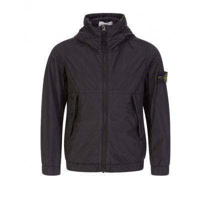 Junior Black Nylon Hooded Jacket