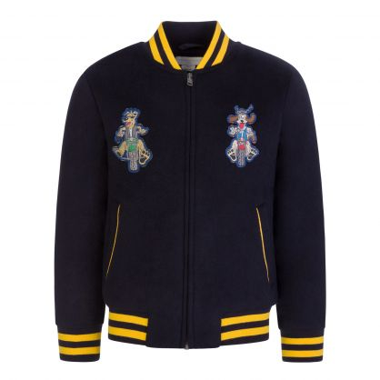 Dark Navy Doggies Wool Bomber Jacket