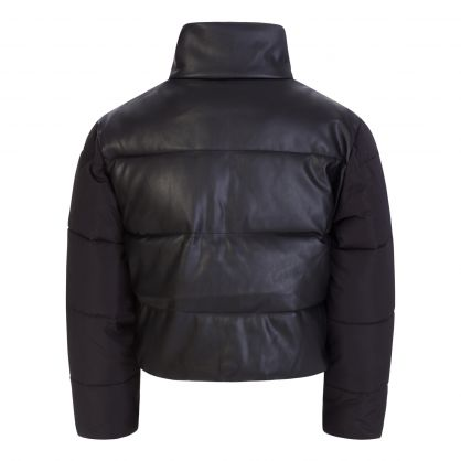 Black Nappa Leather Alter Puffer Jacket