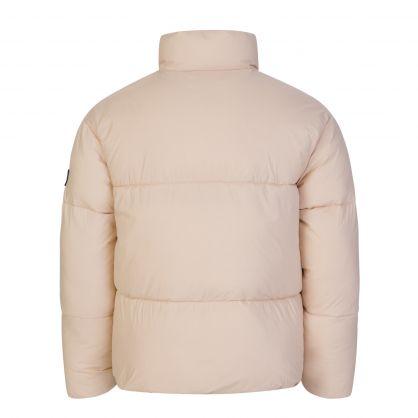 Kids Beige Tonal Logo Puffer Jacket