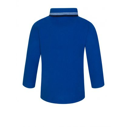 Blue Long-Sleeve Essential Polo Shirt