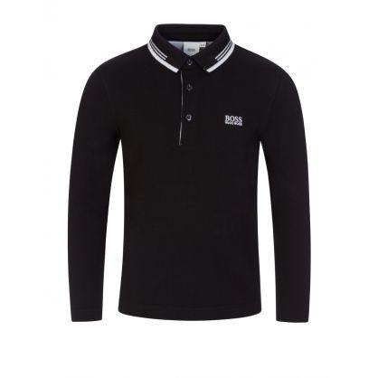 Black Long-Sleeve Essential Polo Shirt