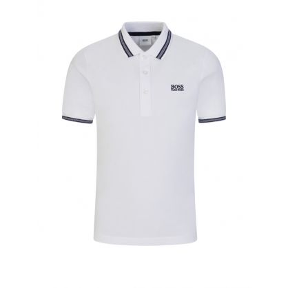 White Patterned Collar Polo Shirt