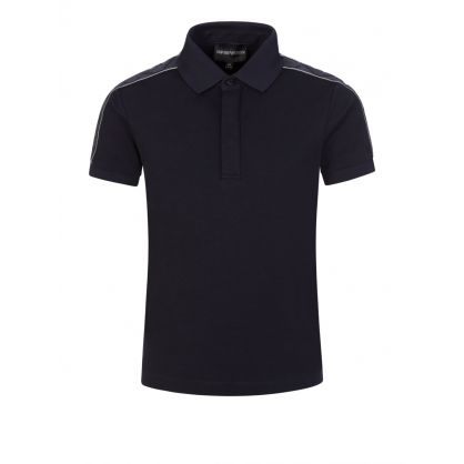 Junior Navy Logo Sleeve Polo Shirt