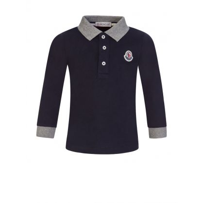 Navy Baby Long-Sleeve Polo Shirt