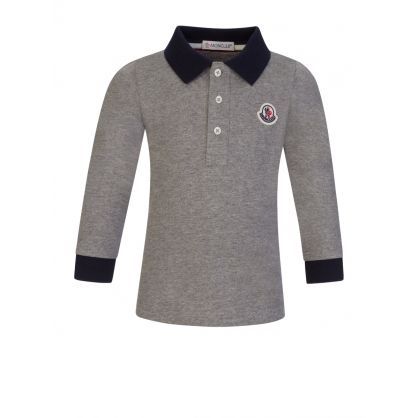 Grey Long-Sleeve Baby Polo Shirt