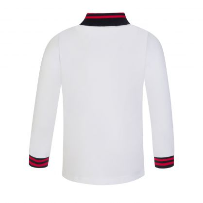 White Long-Sleeve Tipped Polo Shirt