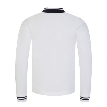 White/Black Long-Sleeve Tipped Polo Shirt