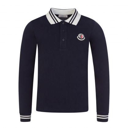 Navy Long-Sleeve Tipped Polo Shirt