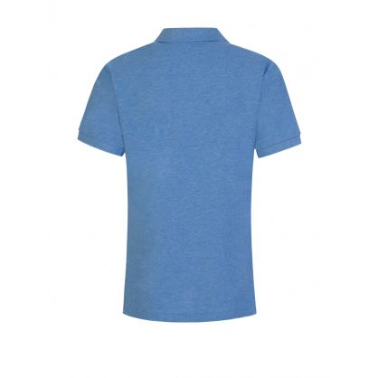 Kids Blue Slim-Fit Mesh Polo Shirt
