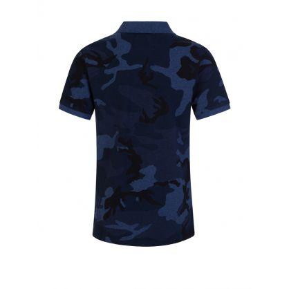 Kids Blue Camo Polo Shirt