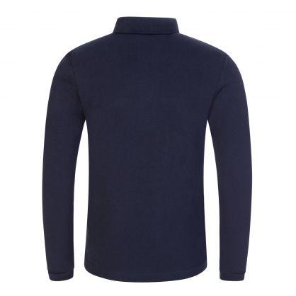 Navy Long-Sleeve Zebra Logo Polo Shirt